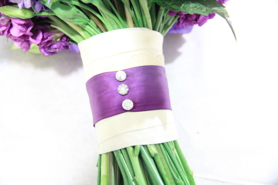 Bridal bouquet wraps: Handle Decor with crystal pins