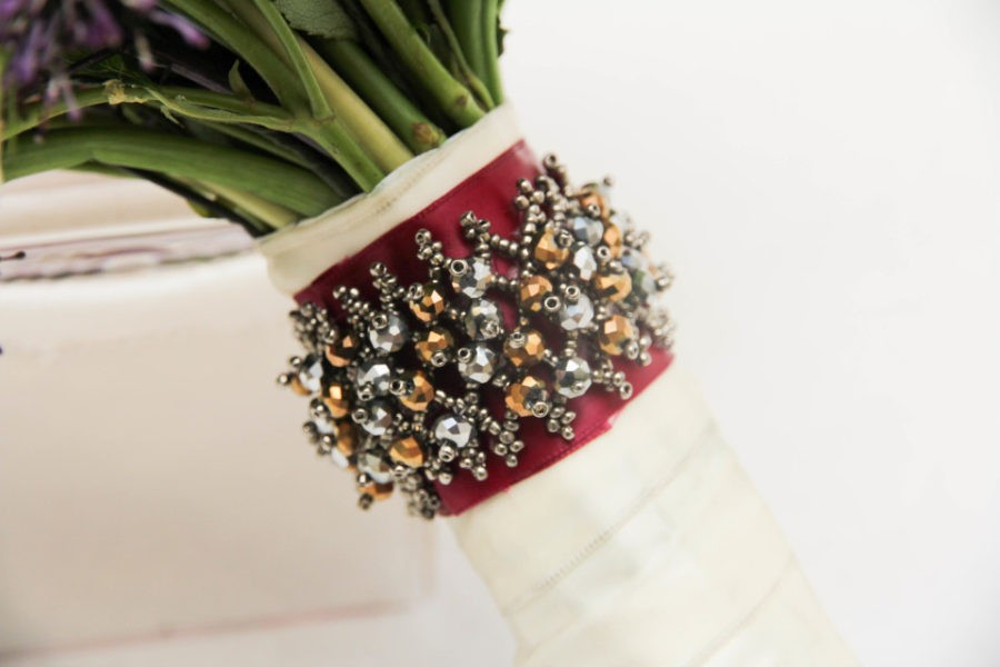 Handle decor with a beaded cuff