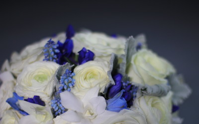White royal blue wedding flowers with a touch of silver