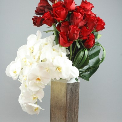 Red roses and white orchids vase arrangement Grace